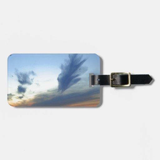 Muelle del cielo de la bahía etiqueta de equipaje