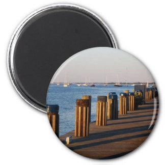 Muelle, puerto de Nantucket Imán Redondo 5 Cm