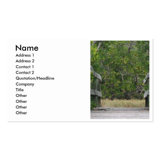 Muelle que lleva en soporte verde del mangle tarjetas de visita