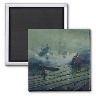 Muelles de Cardiff, 1896 Imán Cuadrado
