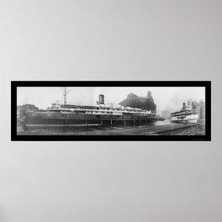 Muelles del barco del búfalo, foto 1909 de NY Impresiones
