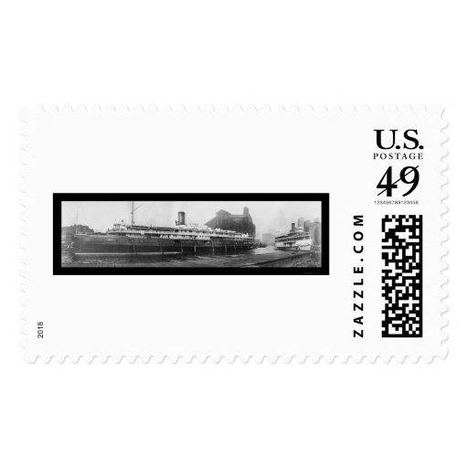 Muelles del barco del búfalo, foto 1909 de NY Sellos