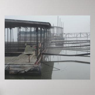 Muelles del barco en el lago del Ozarks Póster