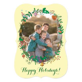 """Muérdago de la foto de familia del navidad y invitación 5"""" x 7"""""""