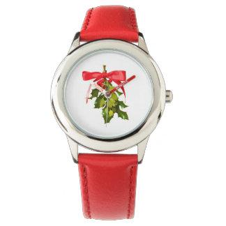 muérdago del día de fiesta relojes de pulsera