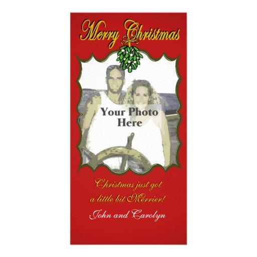 Muérdago del navidad tarjeta con foto personalizada