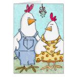 Muérdago del pollo felicitación