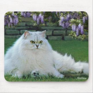 Muérdago el cojín de ratón de plata del gato persa alfombrilla de raton