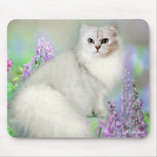 Muérdago el cojín de ratón de plata del gato persa alfombrillas de raton