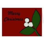Muérdago en la tarjeta de Navidad marrón