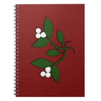 Muérdago en marrón libro de apuntes