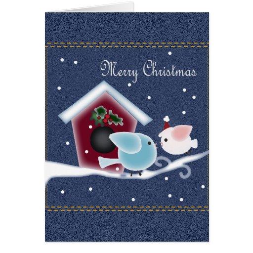 Muérdago lindo del navidad del dril de algodón que tarjeta de felicitación