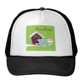 Muérdago lindo del navidad que besa pájaros gorras de camionero