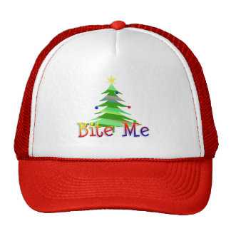 Muérdame árbol de navidad gorro de camionero