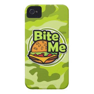Muérdame camo verde claro camuflaje iPhone 4 fundas