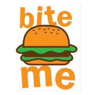 ¡muérdame! con la hamburguesa linda tarjeta postal