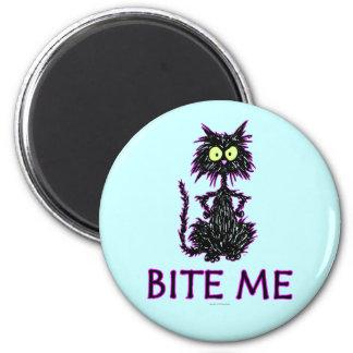 ¡Muérdame! Diseños del regalo del gato Imán Redondo 5 Cm