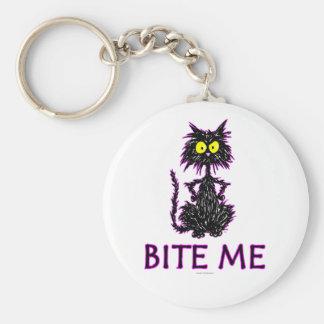 ¡Muérdame! Diseños del regalo del gato Llavero Redondo Tipo Pin