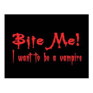 Muérdame que quiero ser un vampiro tarjeta postal