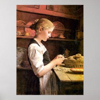 Muere el chica de kleine Kartoffelschälerin que pe Poster