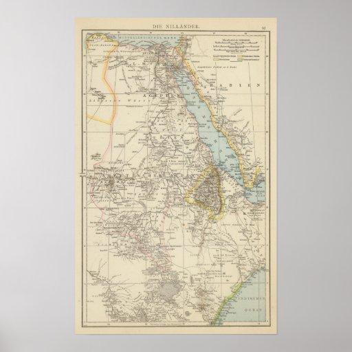 Muere Nillander - mapa del atlas del Nilo Póster