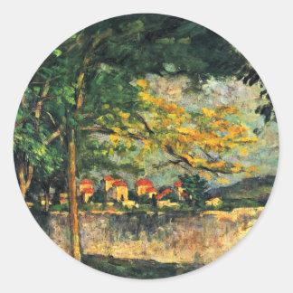 Muere Strasse la pared por Paul Cézanne Etiqueta Redonda
