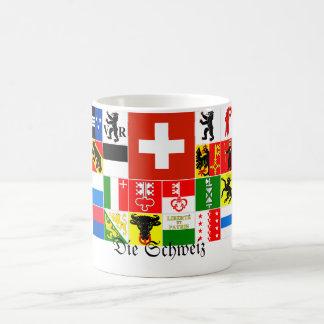 Mueren las banderas alemanas del cantón de Schweiz Tazas De Café