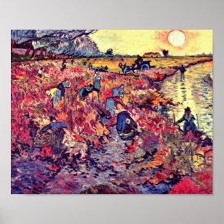 Mueren los jardines del vino rojo de Vincent Póster