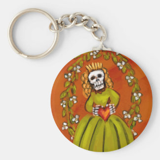 Muerta Skeleton Lady with Heart Key Chain