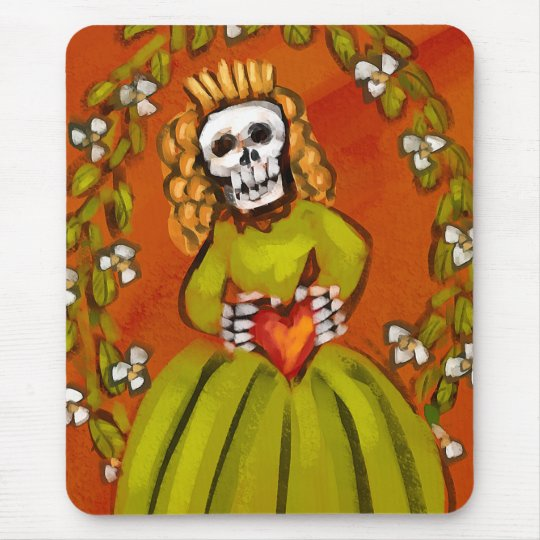 Muerta Skeleton Lady with Heart Mouse Pad