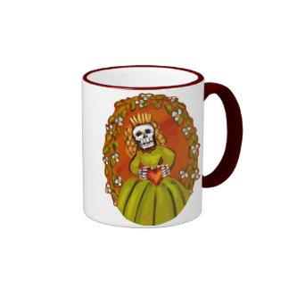 Muerta Skeleton Lady with Heart Coffee Mugs
