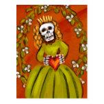 Muerta Skeleton Lady with Heart Postcard