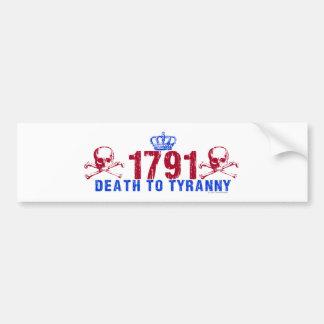 Muerte a la tiranía pegatina para auto