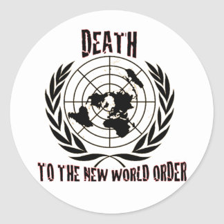 MUERTE AL NUEVO ORDEN MUNDIAL PEGATINAS REDONDAS