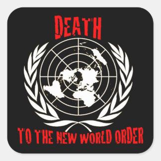 MUERTE AL NUEVO ORDEN MUNDIAL PEGATINA CUADRADA