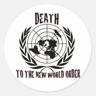 MUERTE AL NUEVO ORDEN MUNDIAL PEGATINA REDONDA
