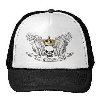 Muerte antes del cráneo con alas pecado gorras de camionero