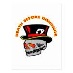 Muerte antes del cráneo y de Tophat de la deshonra Postales