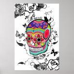Muerte Artistic Sugar Skull, Roses & Flourishes Poster