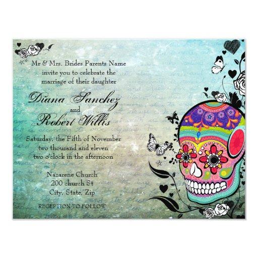 Muerte Day of the Dead Calaveras Sugar Skull 4.25x5.5 Paper Invitation Card