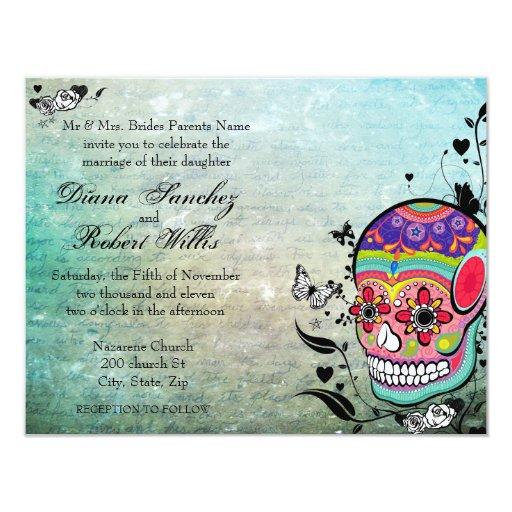 Muerte Day of the Dead Calaveras Sugar Skull Custom Invites