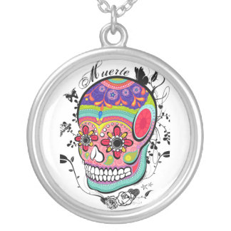 Muerte Day of the Dead Skull Round Pendant Necklace