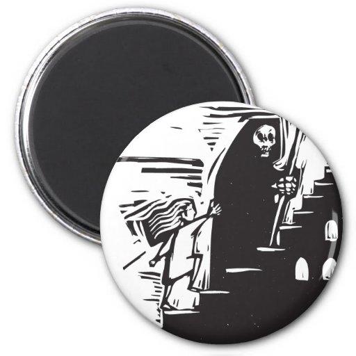Muerte de la escalera imán redondo 5 cm