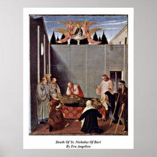 Muerte de San Nicolás de Bari por Fra Angelico Póster