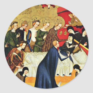 Muerte de St. Clare de Meister Von Heiligenkreuz Pegatina Redonda