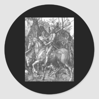 Muerte del caballero de Albrecht Durer y el diablo Pegatina Redonda