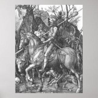 Muerte del caballero de Albrecht Durer y el diablo Póster