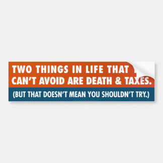 Muerte e impuestos pegatina para auto