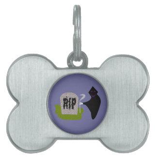 Muerte en la etiqueta del mascota de Halloween del Placas De Nombre De Mascota