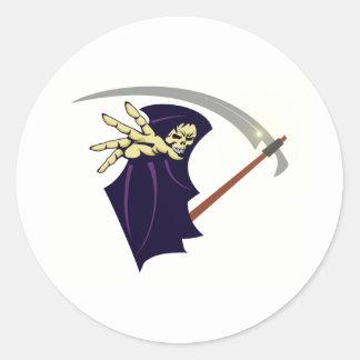 Muerte hombre de guadaña grim reaper pegatina redonda